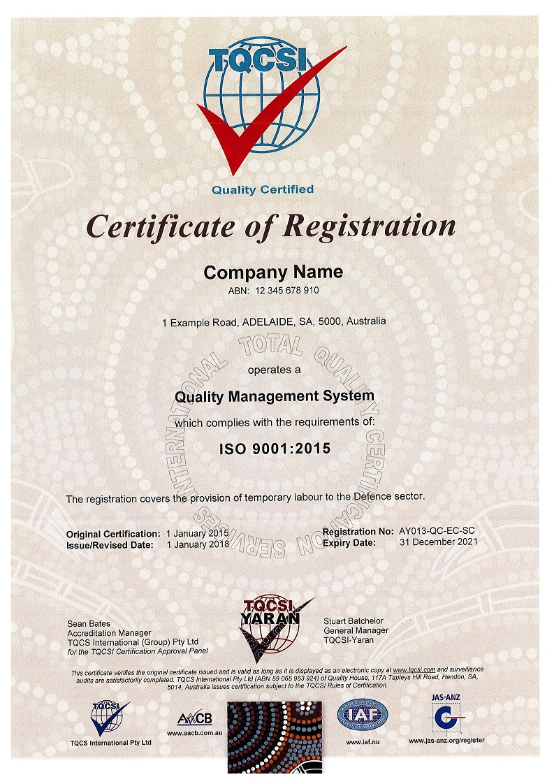 Yaran Certification Marks Example